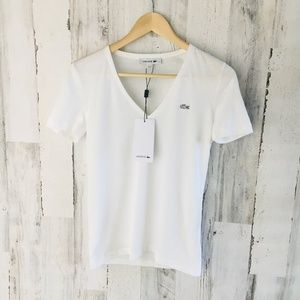LACOSTE White V-Neck Short Sleeve Cotton Top Tee
